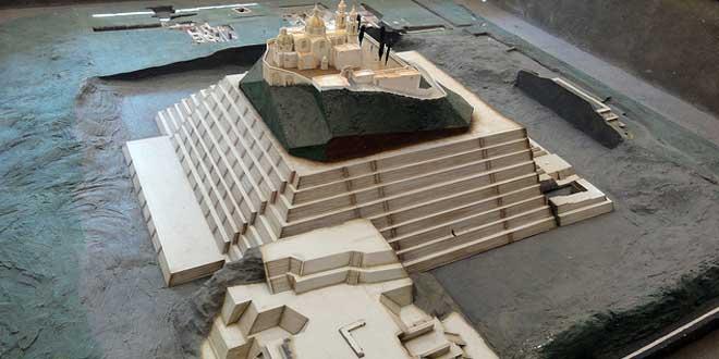 Maqueta de la estructura, pirámide de Cholula