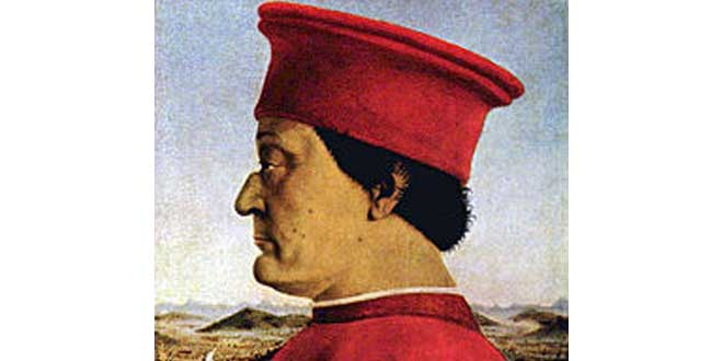 Detalle del retrato del duque de Montefeltro por Pietro della Francesca