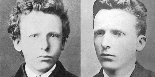 Los hermanos y amigos Van Gogh. A la izquierda Vincent con 13 años (1866) y a la derecha Theo (con 21 años, 1872)