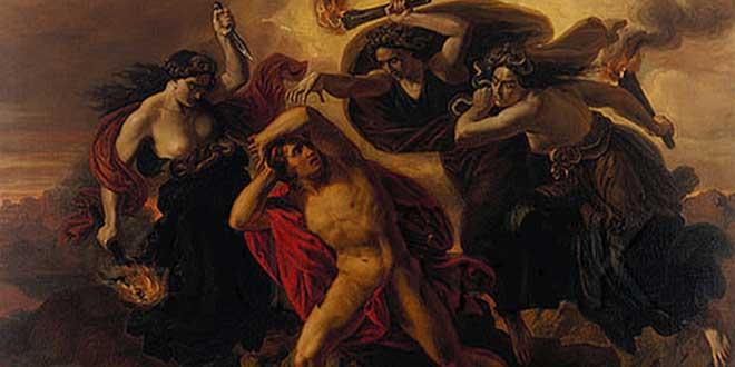 """""""Orestes perseguido por las Furias"""" (Carl Rahl, sobre 1852)"""