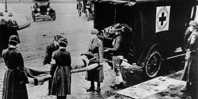 Atendiendo a los soldados enfermos de la gripe, en Londres, 1919