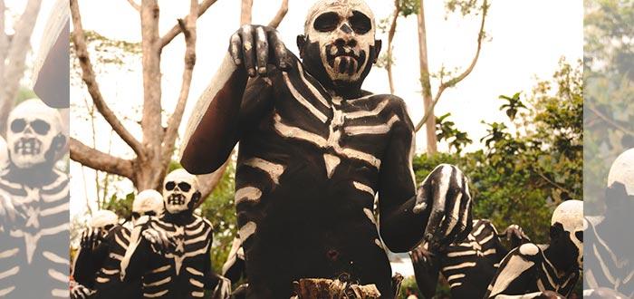 tribus del mundo, chimbu, guerreros esqueleto