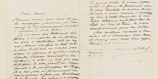 Fragmento de una carta escrita por AlfredNobel
