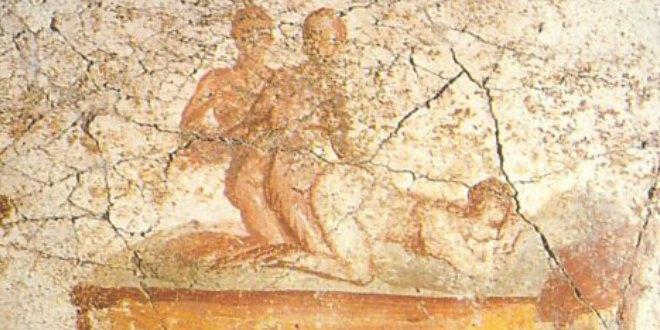 Trío en la forma descrita por Catulo en el poema 56. Fresco de Pompeya