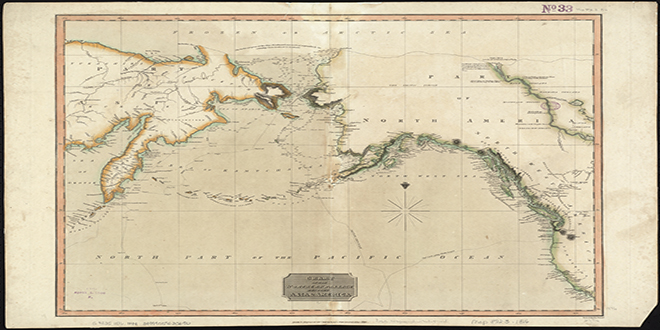 Mapa de 1817 donde se indica el pasaje más al norte, entre Asia y América, por donde habrían pasado los primeros pobladores del continente