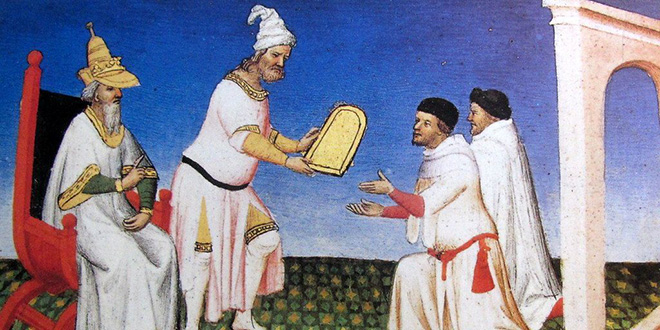 Ilustración que muestra los hermanos Polo recibiendo de Kublai Kan una tabla de oro como salvoconducto para regresar a Venecia