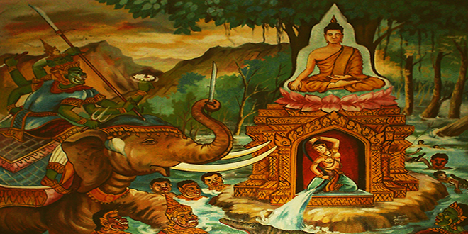 Pintura que representa al dios Mara tentando al Buda antes de su iluminación