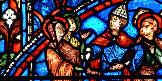Detalle de vitral en la catedral de Chartres, Francia. Escena del casamiento de María y José