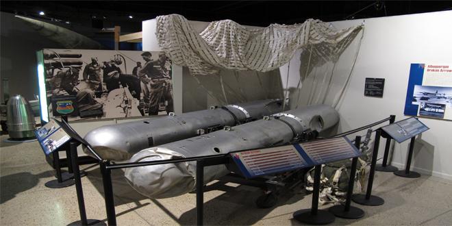 Las dos bombas termonucleares Mark 28 recogidas en Palomares, y expuestas en el Museo Atómico de Albuquerque, Nuevo México