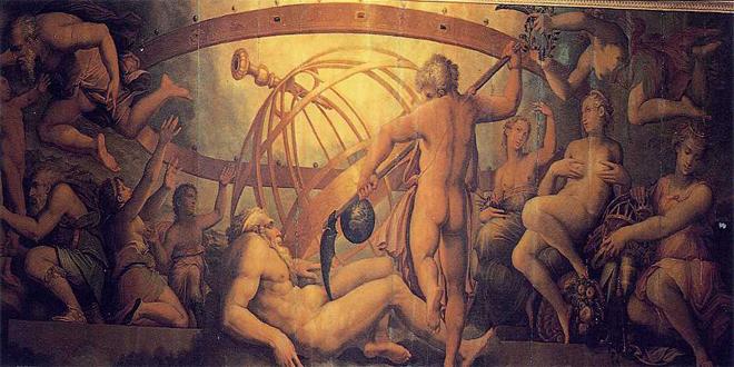 """""""La castración de Urano"""", fresco de Giorgio Vasari y Cristófano Gherarai, c. 1560, en el Palazzo Vecchio, Florencia"""