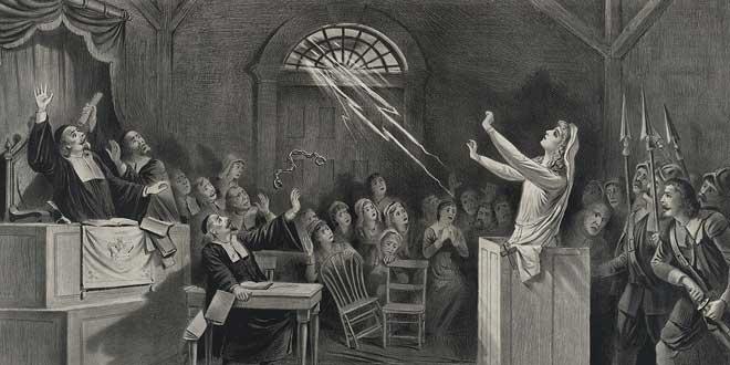 Litografía de los Juicios de Salem (1892)