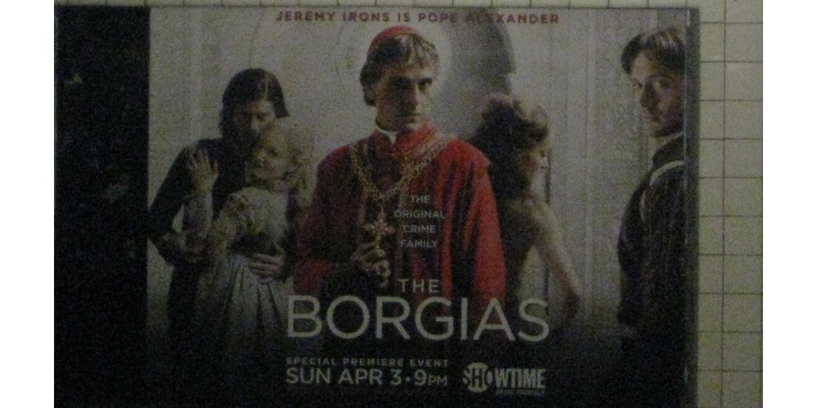 "Cartel de la miniserie ""Los Borgia"", protagonizada por Jeremy Irons"