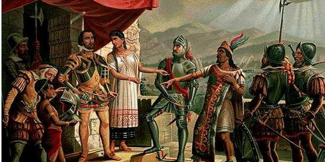 El primer encuentro entre Moctezuma y Cortés.