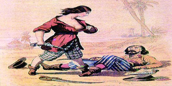 Mary Red enseñando un pecho para distraer a su enemigo.