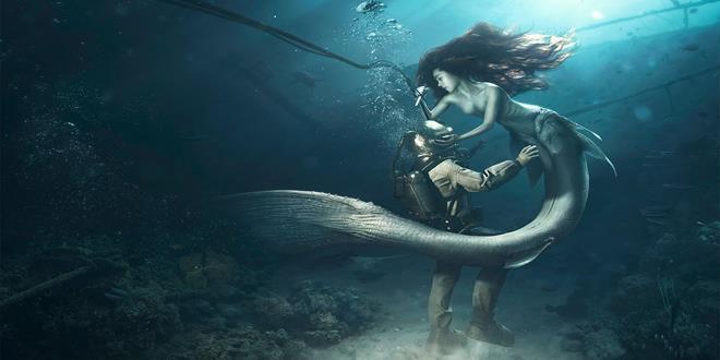 sirenas bajo el mar