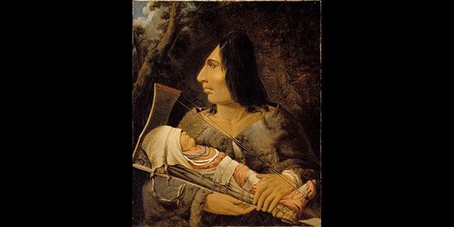 Pintura de Paul Kane. Se muestra a un niño chinook en el proceso de deformación craneal, y a un adulto con el cráneo alargdo