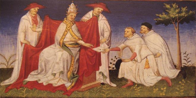 Los hermanos Polo (uno de ellos, el padre de Marco), con el papa Gregorio X