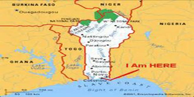 Ubicación de Dahomey. Cotonou es el mismo reino