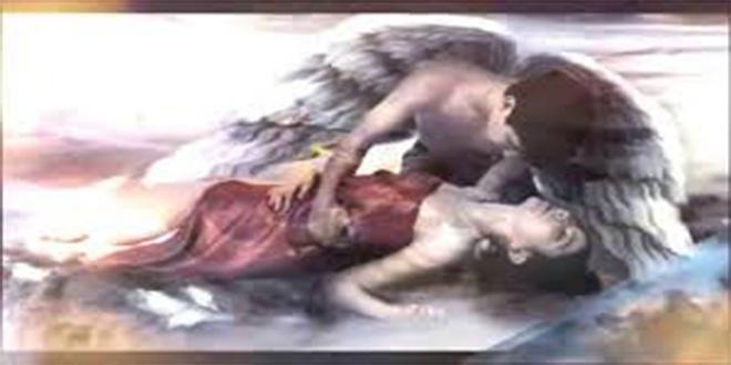 ángel y mujer
