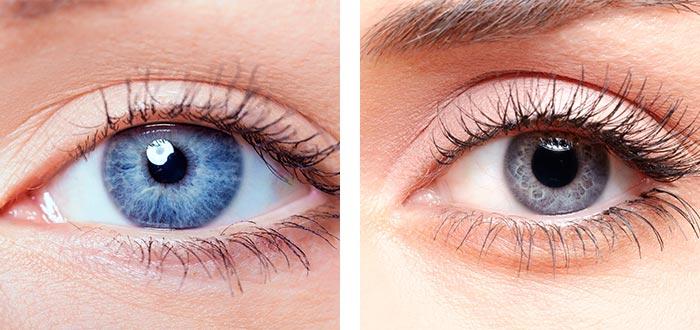 ojos grises, ojos azules
