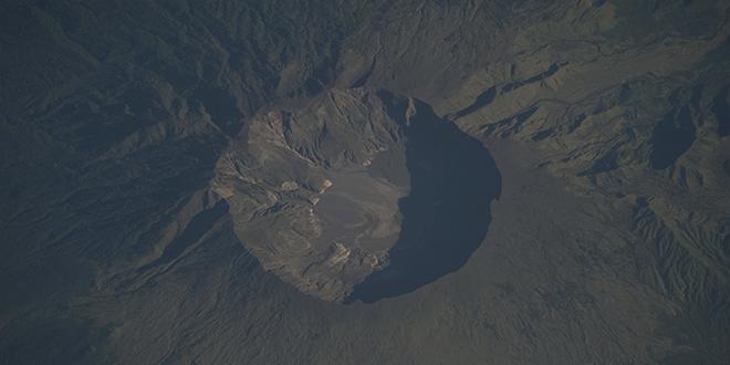Imagen captada por la NASA del monte Tambora en 2009