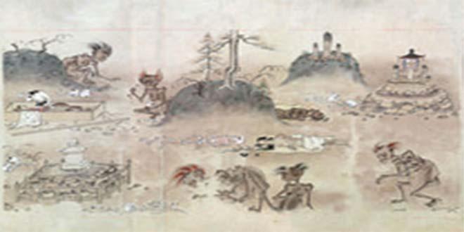 """Papiro antiguo japonés donde se muestra una escena cotidiana de la """"vida"""" de un muerto"""