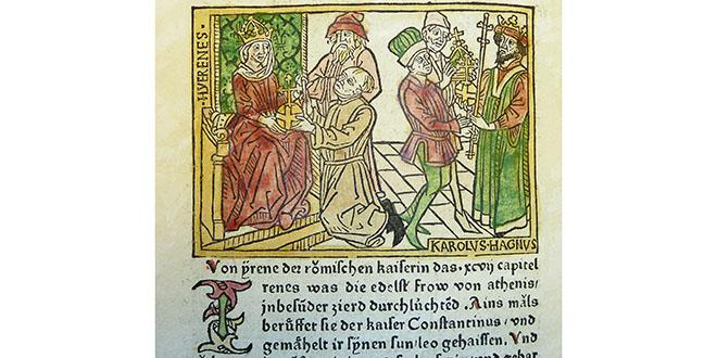 Grabado en madera, representando a Irene y a Carlomagno. 1474