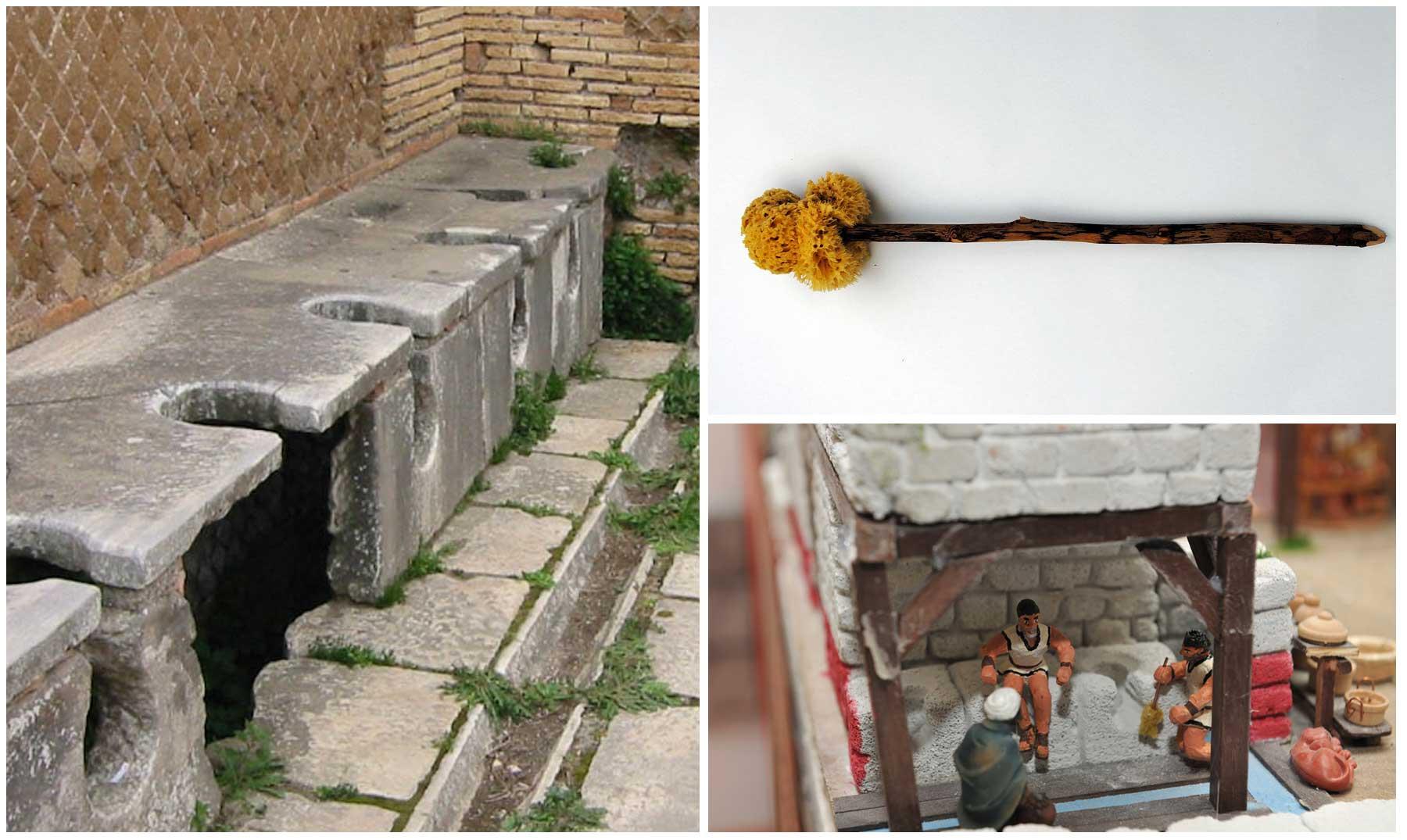 Los w c romanos y el instrumento para limpiarse el trasero for Inodoros antiguos