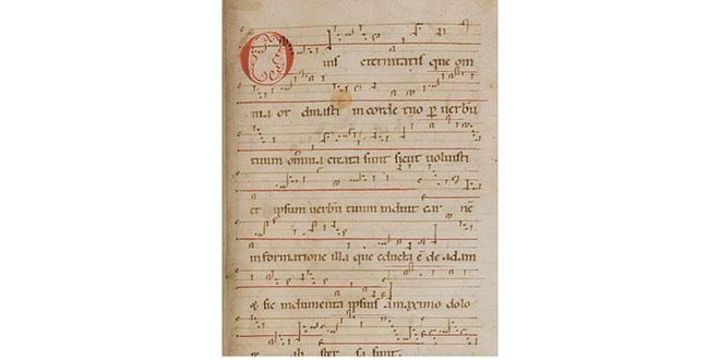 """Vista parcial de las notaciones musicales del canto """"O vis eternitatis"""""""