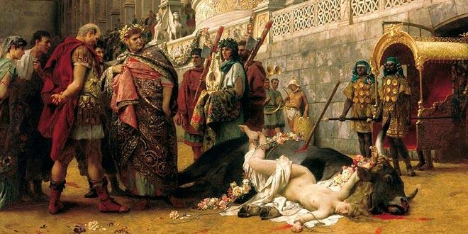 De Henryk Siemiradzki. Nerón y una mujer cristiana muerta durante la recreación del mito de Dirce.