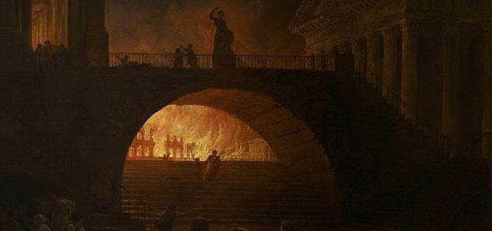 Representación del Gran Incendio de Roma, por Hubert Robert (sobre 1785)