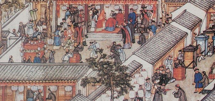 Ilustración de una ceremonia de boda en la China del siglo XVIII, casamentera