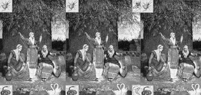 Árbol de la vida, leyendas, nornas a los pies de Yggdrasil