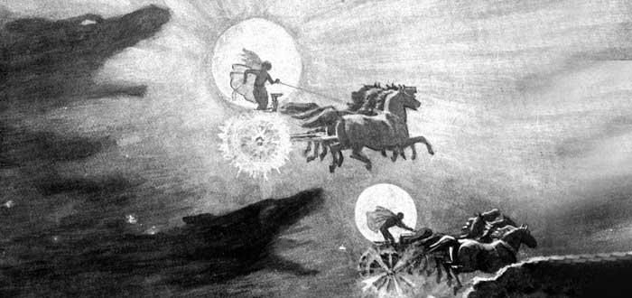 Eclipses en la antigüedad, Sköll y Hati