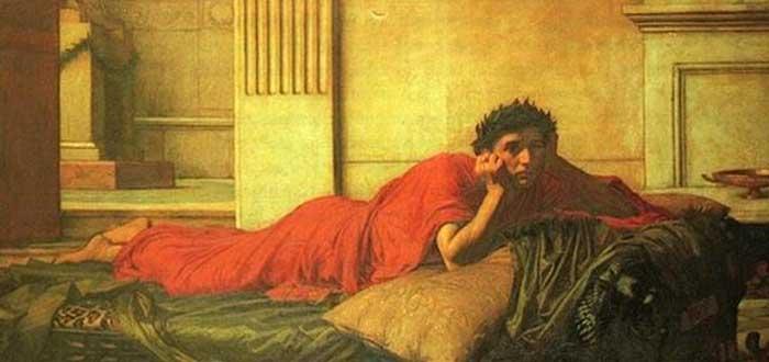 Pintura de John William Waterhouse que representa los remordimientos de Nerón tras matar a su madre, posiblemente incitado por Poppeae Sabina