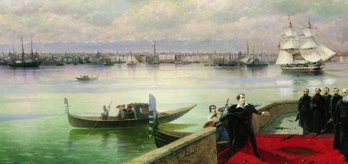 Sobre Lordy Byron, Pintura representando la visita de Lord Byron a San Lázaro (Venecia)