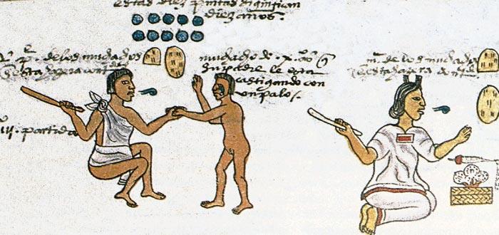 Fragmento del Códice Mendoza en el que se ilustran algunos castigos a los niños del Imperio azteca