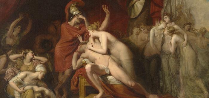 Aquiles, desolado por la muerte de Patroclo