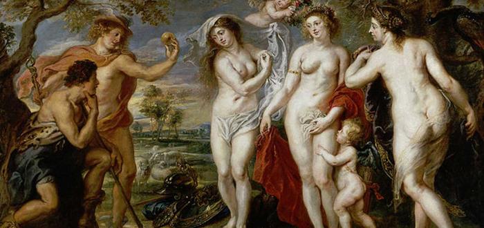 Paris le da la manzana a Afrodita