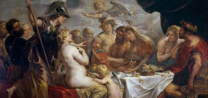 La diosa de la discordia lanza una manzana en la boda de Tetis y Peleo