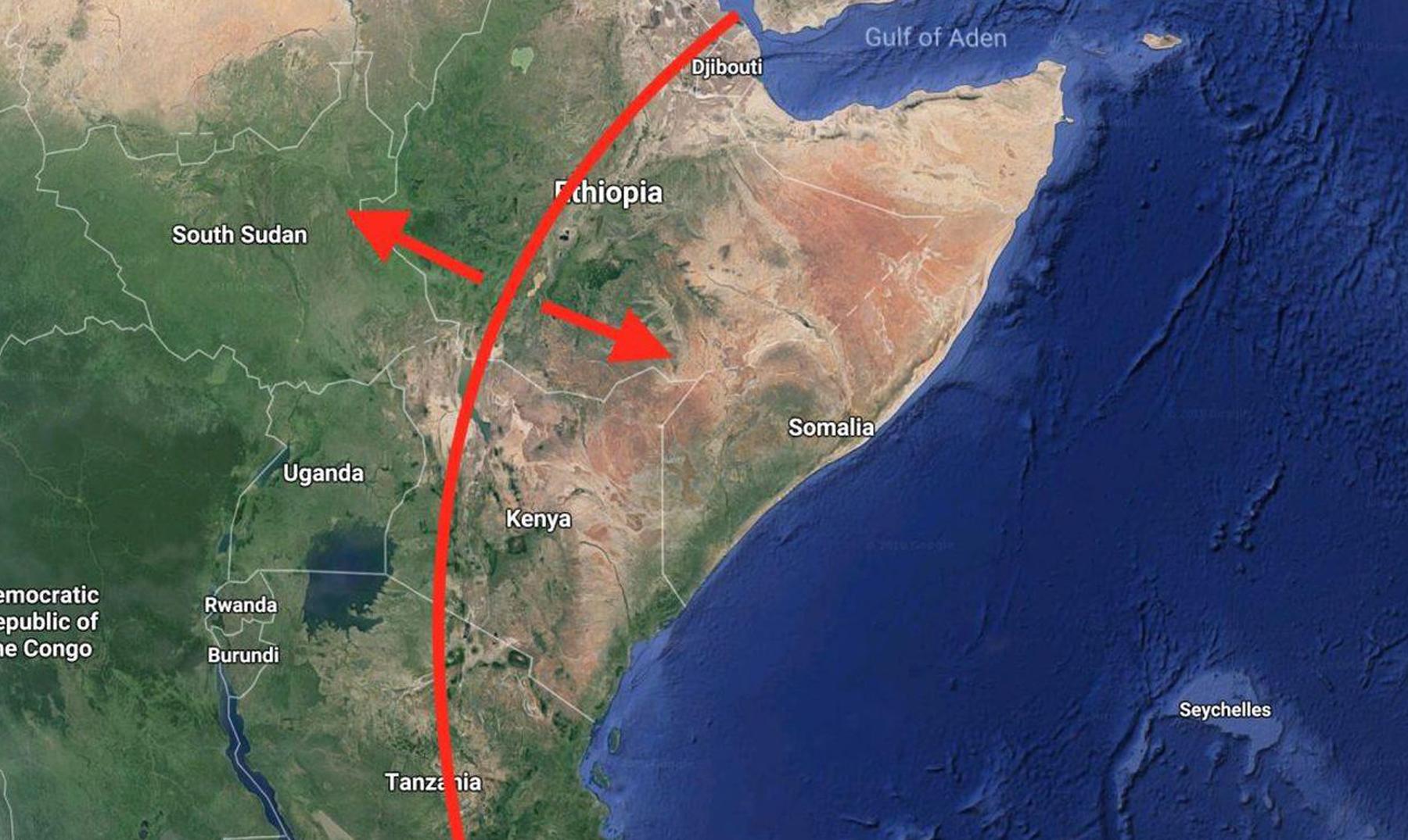 La grieta de África que parece estar partiendo el continente en 2