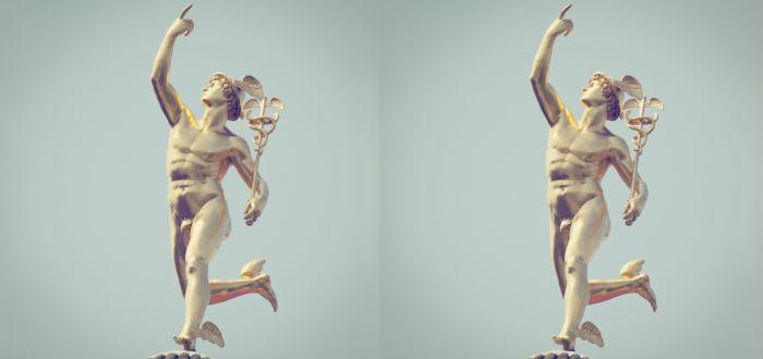 mitos de hermes, estatua del mensajero de los dioses
