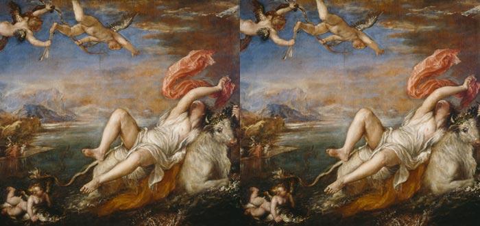 mitos de zeus, el rapto de Europa, Tiziano