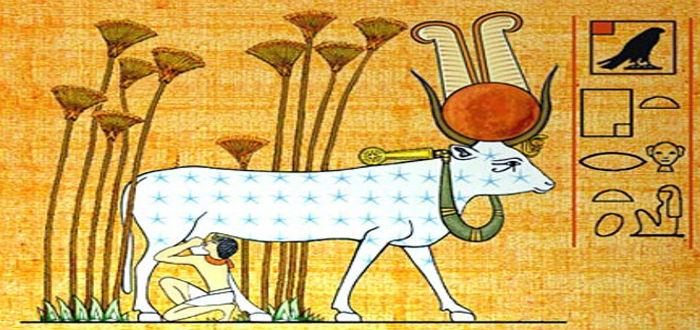 Hathor, diosa del amor egipcio, vaca