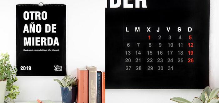 regalos muy curiosos, calendario otro año de mierda