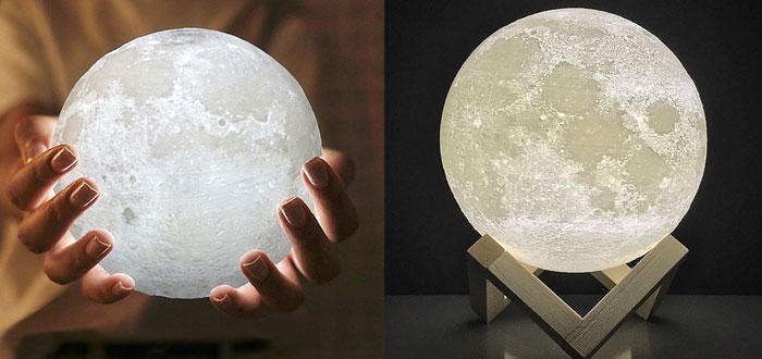 regalos muy curiosos, lámpara con forma de luna